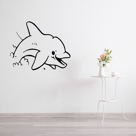 Happy Splashing Out Dolphin Decal