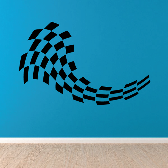 Checkered Flags Wall Decal - Vinyl Decal - Car Decal - SM025