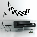 Checkered Flags Wall Decal - Vinyl Decal - Car Decal - SM035