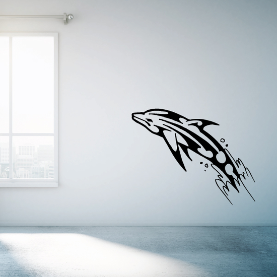 Tribal Splash Out Dolphin Decal