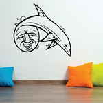 Laughing Moon and Dolphin Decal