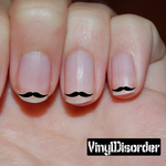 Mustache Finger Nail Art Vinyl Decal Sticker KC028