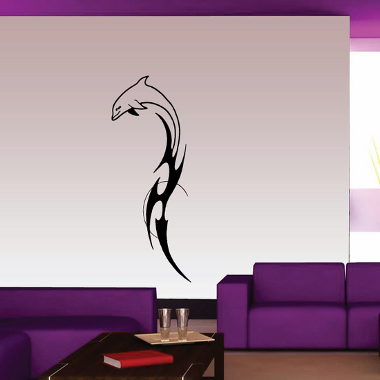 Tribal Tail and Moon Dolphin Decal