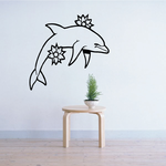 Double Flower Dolphin Decal