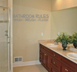Bathroom Rules Wash Brush Flush Quote Wall Decal