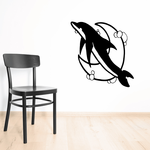 Dreamy Bubbles and Moon Dolphin Decal