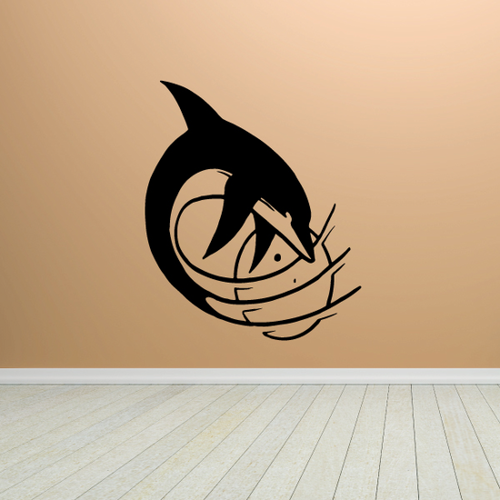 Splashing Moon and Dolphin Decal