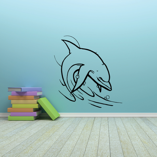 Tidal Waves and Moon Dolphin Decal