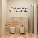 Bathroom Rules Wash Brush and Flush Wall Decal