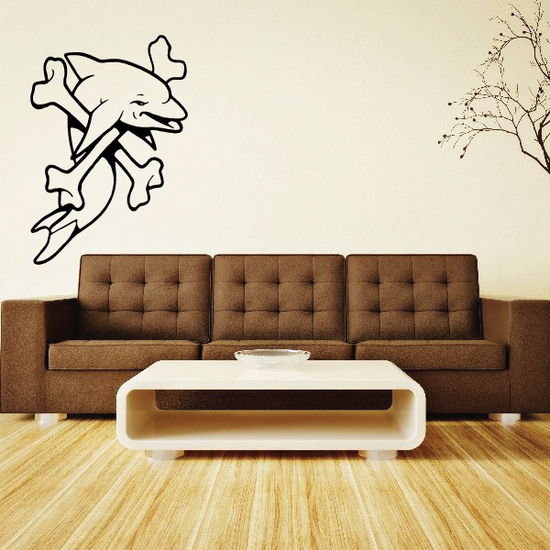 Dolphin and Crossbones Decal