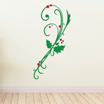 Holly and Mistletoe Branch Printed Die Cut Decal