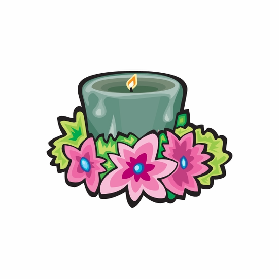 Green Candle with Flowers Sticker