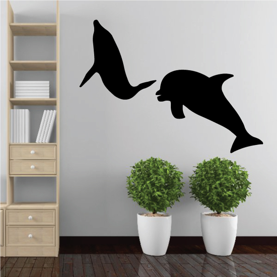Two Dolphins Swimming Decal