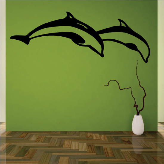 Two Dolphins Diving Decal