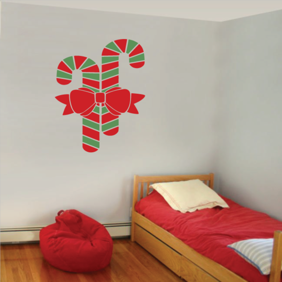 Double Candy Cane Decal - Vinyl Decal - Car Decal - Vdcolor012