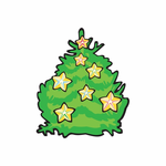 Christmas Decorated Tree with Stars Sticker