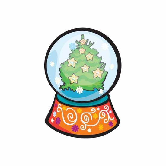 Christmas Decoration Tree Snow Globe Sticker