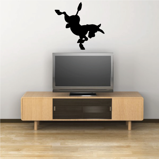 Bucking Cartoon Donkey Silhouette Decal
