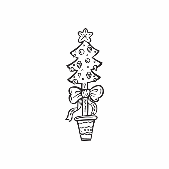 Christmas Decorations Tree with Bow Decal