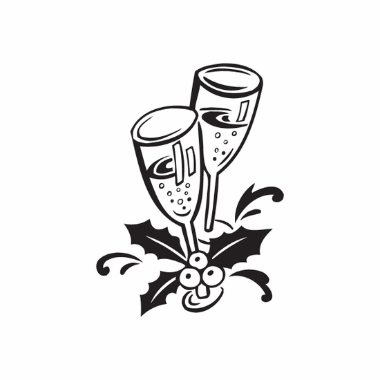 Christmas Decorations Two Drinking Glass Decal