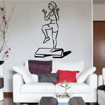 Female Doing Stair Steps Fitness Wall Decal - Vinyl Decal - Car Decal - MC047