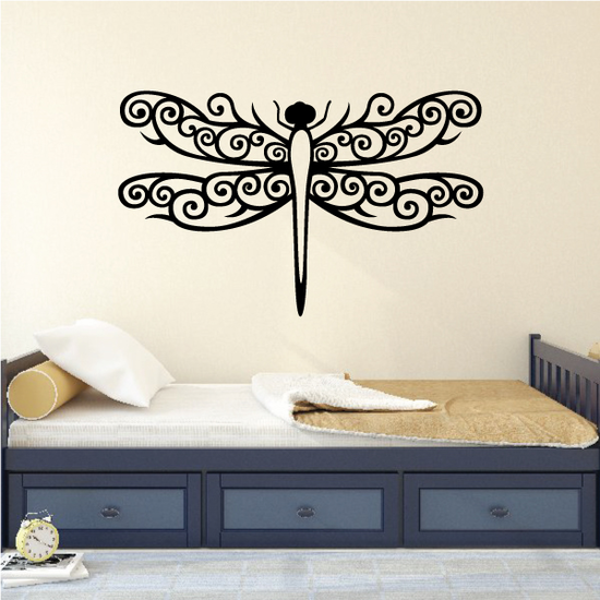 Elegant Swirl Dragonfly Decal