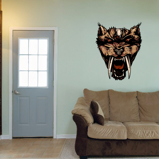 Saber-Toothed Cat Head Sticker