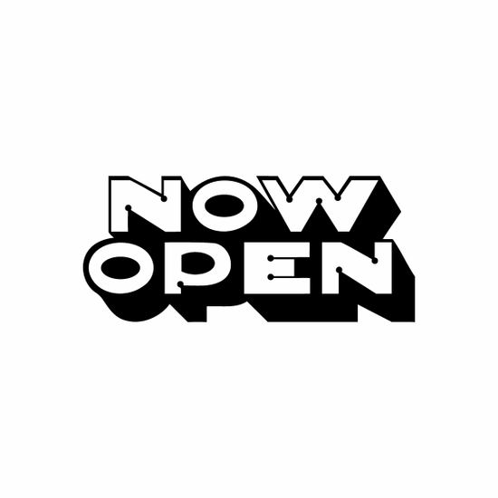Now Open Sign Signs Home Business Car text Vinyl Decal Sticker Stickers 0034