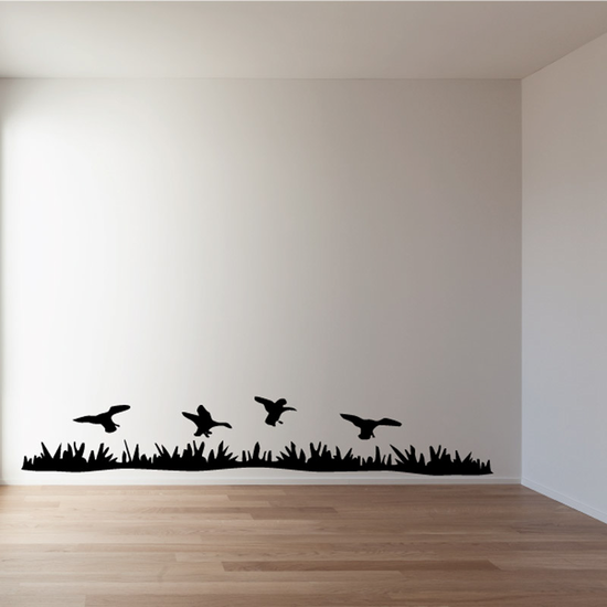 Ducks Hovering Above Grass Decal