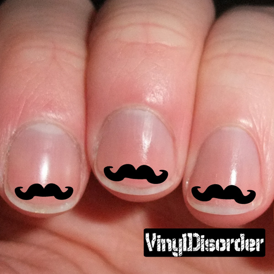 Mustache Finger Nail Art Vinyl Decal Sticker KC005