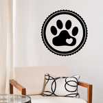 Cat Paw Print With Heart Decal