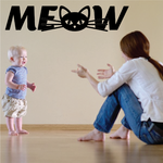 Meow with Kitty Head Decal
