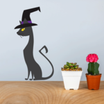 Cat wearing Witch Hat Sticker