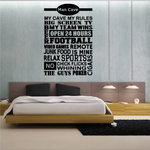 Man Cave Wall Decal - Vinyl Decal - Car Decal - Vd014
