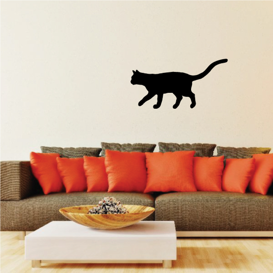 Cat Prowling Behind Silhouette Decal