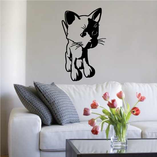 Cartoon Kitten Looking to the Side Decal