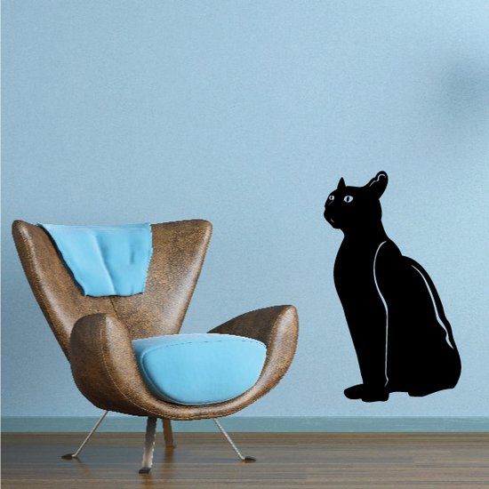 Sitting Cat Staring Out Decal
