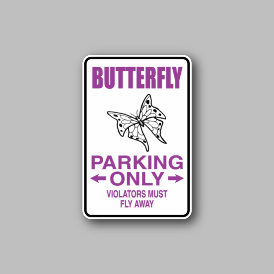 Butterfly Parking Only Sticker