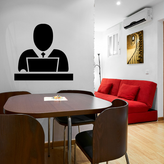 Business Man with Laptop Business Icon Wall Decal - Vinyl Decal - Car Decal - Id006