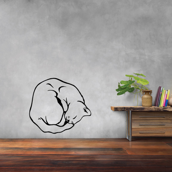 Curled in Ball Cat Decal