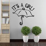 It is a Girl Baby Shower Umbrella Wall Decal