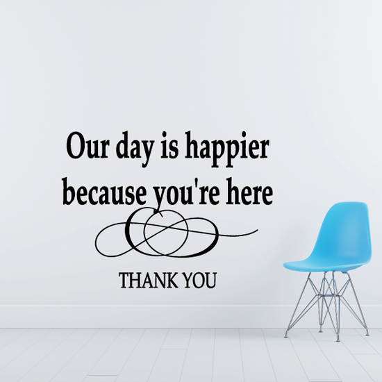 Our day is happier because you are here Wall Decal