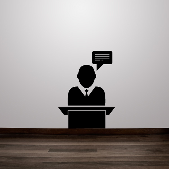 Chat Bubble Above Business Man Business Icon Wall Decal - Vinyl Decal - Car Decal - Id005