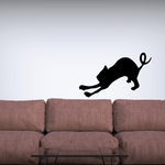Stretching Cat and Curly Tail Decal