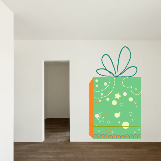 Christmas Present with Star and Dot Motif Sticker
