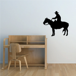 Cowboy on Horse Watching Decal