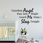 Guardian Angel pure and bright guard Me while I Sleep tonight Wall Decal
