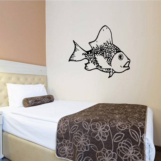 Open Mouth Goldfish Decal