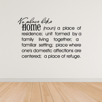 No place like home Definition Wall Decal