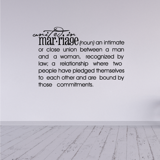 Unified in marriage Definition Wall Decal